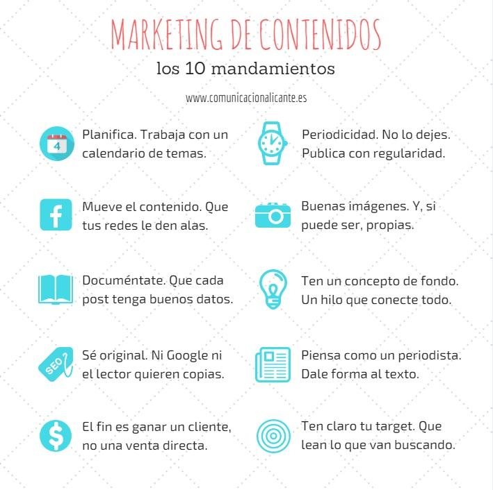 Los diez mandamientos del marketing de contenidos.