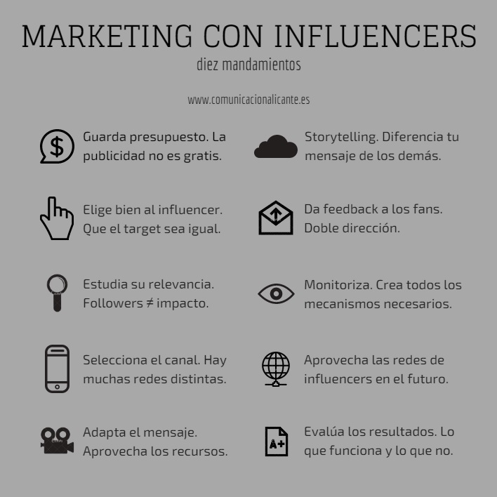 Los diez mandamientos del marketing con influencers