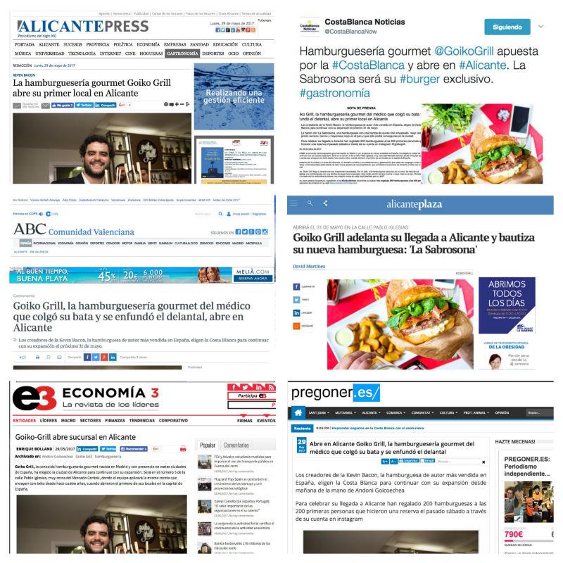 Goiko Grill Alicante en los medios