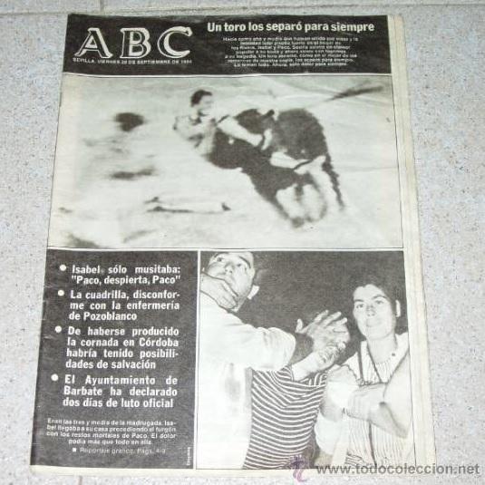 Casos como el de la muerte de Iván Fandiño ya habían protagonizado la portada de ABC a lo largo de la historia