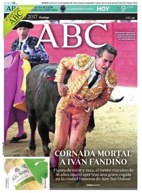 La muerte de Iván Fandiño fue la foto principal de portada al día siguiente del suceso