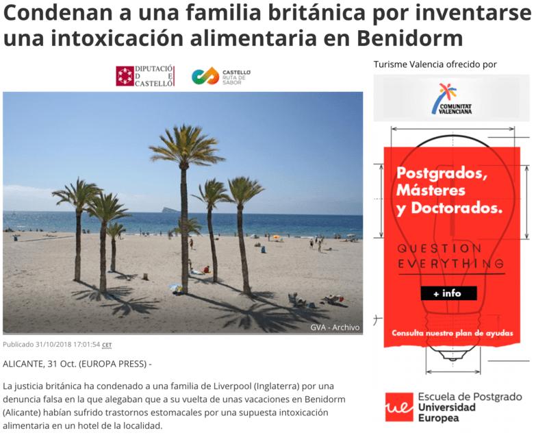 Falsa intoxicación de una familia británica