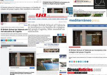 Cognita y la British School de Valencia, en los medios de comunicación