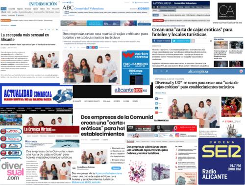 Impactos que la carta de cajas eróticas de Diversual ha conseguido en los medios de comunicación