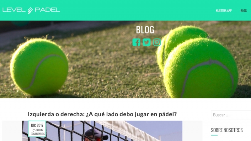 Diseño blog para Level Padel